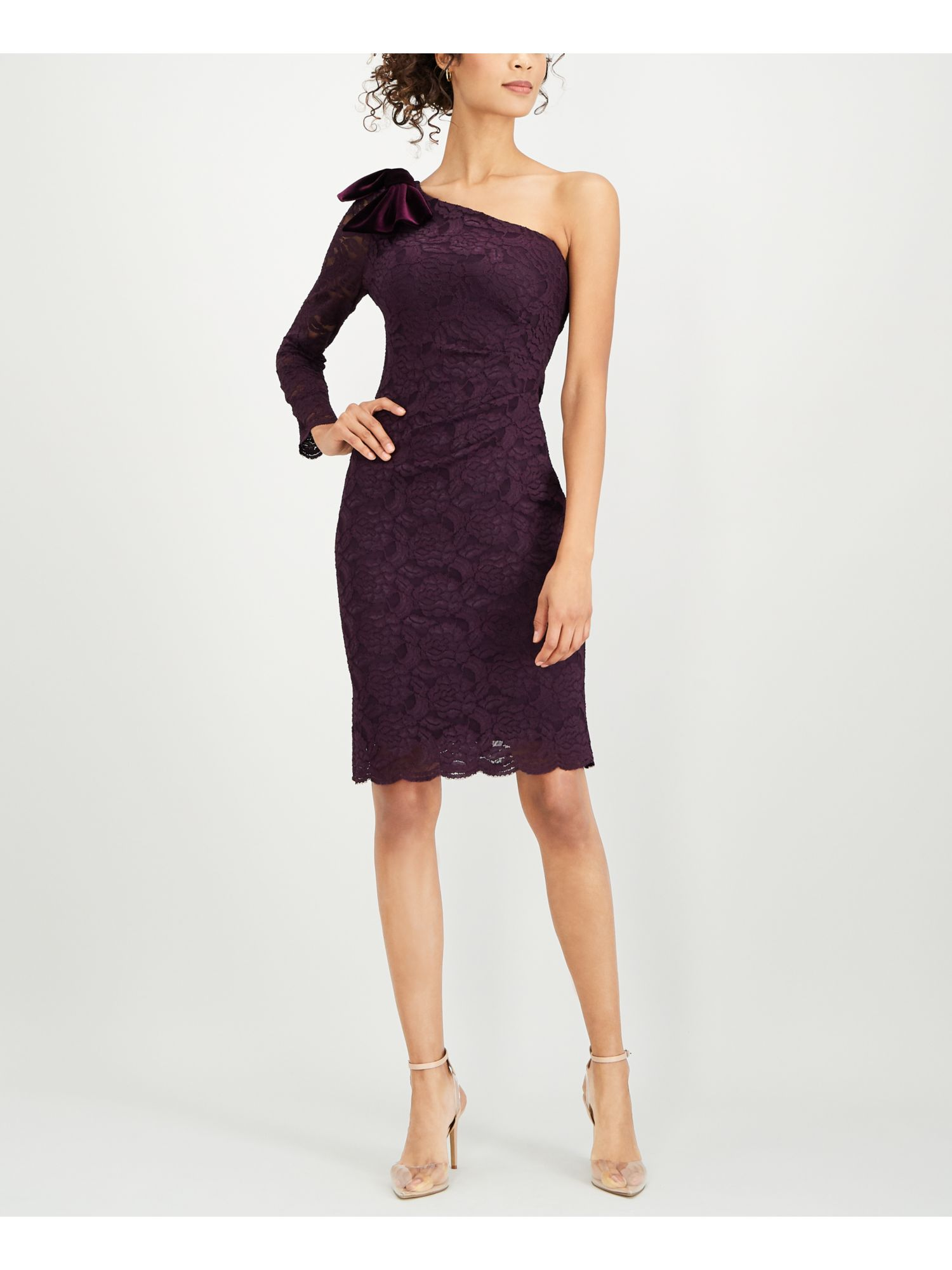 Details About Jessica Howard 109 Womens New 1069 Purple One Shoulder Lace Dress 16 Bb