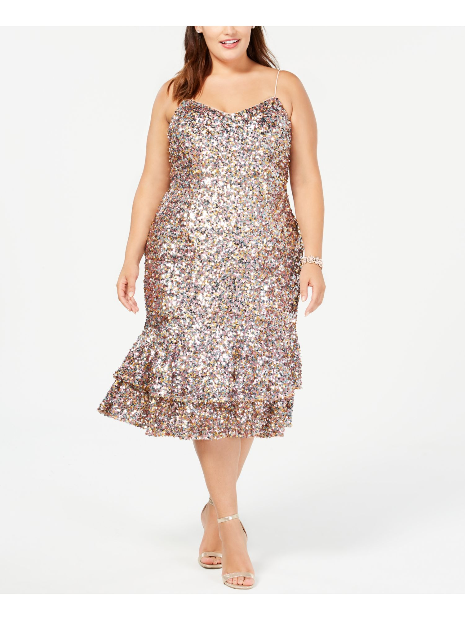MSRP $199 Adrianna Papell Womens Plus Sequined Cocktail Midi Dress Pink 18W