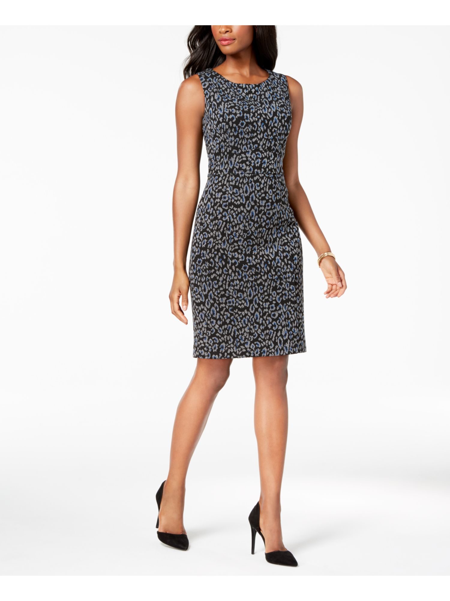 Kasper Womens Printed Jacquard Sheath Dress